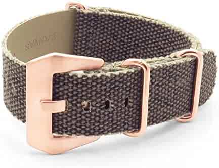 52ceff715 DASSARI Shred Frayed Edge Canvas Distressed NATO Strap Watch Band w/Rose  Gold Buckle