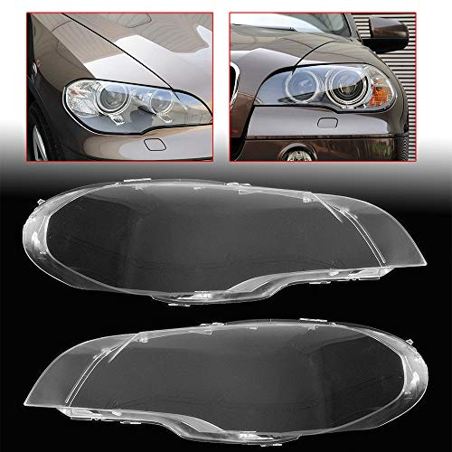 1 Pair Headlight Headlamp Lense Clear Lens Cover Lampshade fit for 2008-2013 BMW X5 E70 (X5 Lens Bmw Headlight)