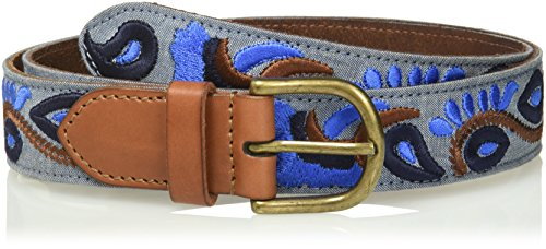 House of Boho Metallic Floral Embroidered 100% Leather Belt