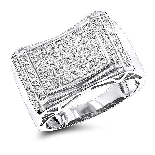 (Luxurman 10K Pave Set Natural 0.5 Ctw Diamond Ring For Men (White Gold Size)