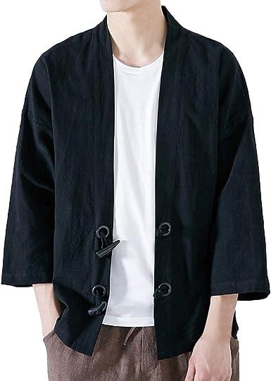 Cardigan Moda Hombre Yukata Japonesa Abrigo Casual Kimono Fleece ...