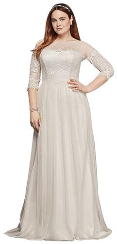 Davids Bridal Plus Size Wedding Dress Lace Sleeves Style 9WG3817 At Amazon Womens Clothing Store