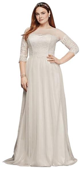 Davids Bridal Plus Size Wedding Dress With Lace Sleeves Style 9WG3817 Ivory