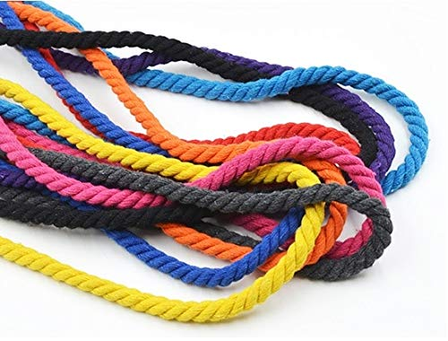 Triple Rope Chain (luffybin: 8mm Pure Cotton Rope Decorative Triple Twisted Drawstring Cotton Cord 15 Colors Cotton Packaging Rope Cords Arts Crafts Sewing)