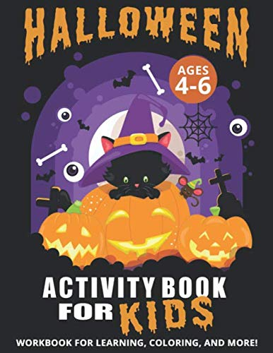 A Fun Halloween Activity Book For Kids Ages 4-6!!! Halloween coloring pages for kids. Each picture is printed on one side of pure white paper to minimize scoring and bleed-through. Your children will be learning and enjoy this activity book tha...