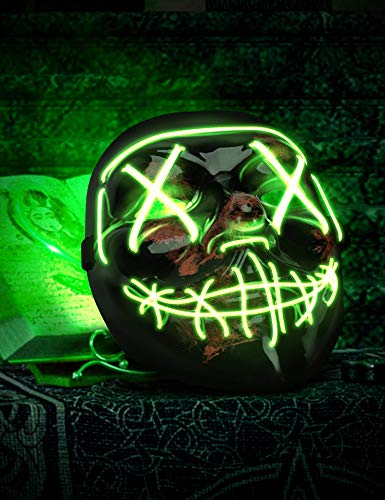 AnanBros Scary LED Halloween Mask, Masquerade Cosplay Light Up Face Mask for Men Women Kids Green - http://coolthings.us