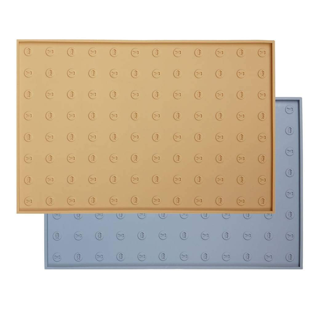 WooPet! Pet Food Mat 24''x16'' Tan Extra Large, Premium Silicone Food Safe Cat or Dog Feeding Mat