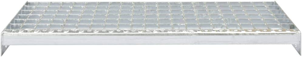vidaXL4x Marches dEscalier Forge Soud/ée Caillebotis Passerelle de Plancher Couverture de Drainage Installation Industrielle Acier 700x240 mm