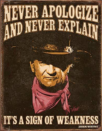 Desperate Enterprises John Wayne - Sign of Weakness Tin Sign, 12.5