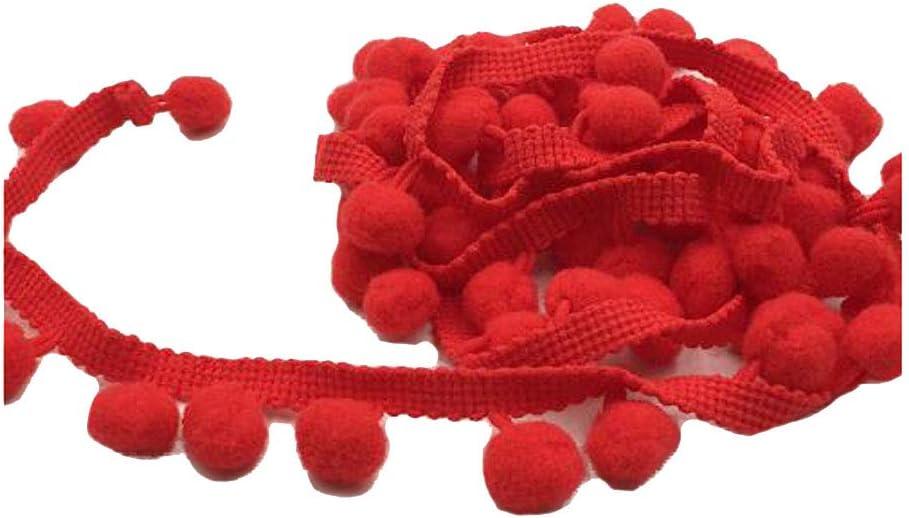 Grey ADAMAI 20Yards Width 1inch Plush Ball Tassle Fringe Trim Ribbon Sewing Clothing Dress Accessories