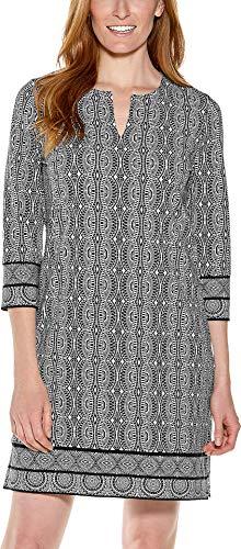 - Coolibar UPF 50+ Women's Oceanside Tunic Dress - Sun Protective (Medium- Black Summer Geo)