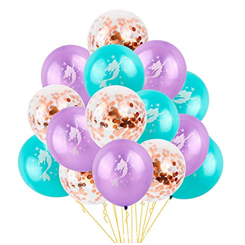 Mermaid Latex Balloons Rose Gold Confetti Balloons Wedding Baby shower Birthday Hawaii Summer Party Decoration Supplies 12 inches 15Pcs -