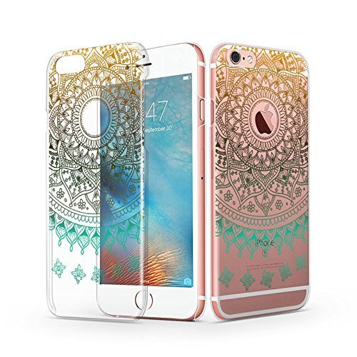 iPhone 6s Case, iPhone 6 Clear Case, MOSNOVO Fashion Luxury Gold Totem Henna Mandala Custom Printed Clear Design Plastic Case Cover for iPhone 6s 4.7 Inch