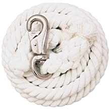 Weaver Leather White Cotton Lead Rope with Nickel Plated Bull Snap, White