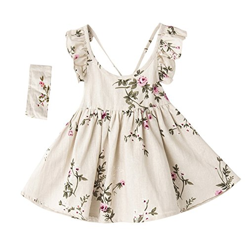 Girl Summer Linen Casual Dress Ink and Wash Painting Sleeveless Dress (4T, White)