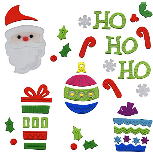 Christmas Window Gel Stickers - Christmas Window Clings Holiday Ornament and Ho Ho Ho Santa Gel Charms