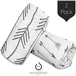 Kaydee Organic Muslin Cotton Swaddle Baby Blanket, 47x47-Inch, Grey Arrows, Set of 2