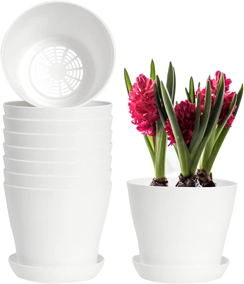 Alotpower Plastic Flower Planters with Multiple Drainage Holes,5.5