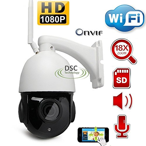 PTZ Wifi IP Camera Onvif 1080P HD H.264 Wireless Waterproof CCTV Security Dome Camera with 18X Optical Zoom Auto-Focus, 355 Pan 90 Tilt, IR-CUT Night Vision, Motion Detection, Pre-Install 16GB SD Card