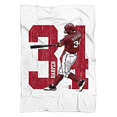 Bryce Harper Sketch R Washington DC Fleece Blanket