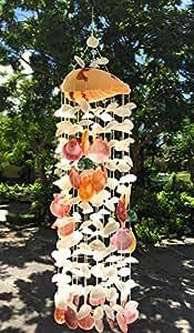 """wd- Tailandia hermoso diseño de Nautilus Mar Amarillo viento, de concha marina para decoración de hogar interior y exterior jardín (tamaño: W x H: 6,5""""x 25"""") color natural"""