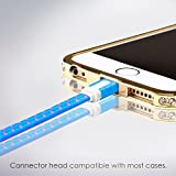 iPhone Charger 3m, Blue Flat Lightning Cable from SWISS-QA Strong Braided Double Sided USB Data Cord - Advanced High Speed 2.4 AMP Sync Wire - For Apple Phone 7 6 5, iPad, iPod - Life Time Warranty
