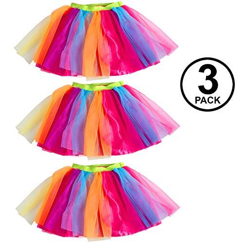 Tigerdoe Rainbow Tutu's – 3 Pack Multicolored Tulle Tutu - 80s Accessories - 80s Clothes for Women - Tutus for Women ()