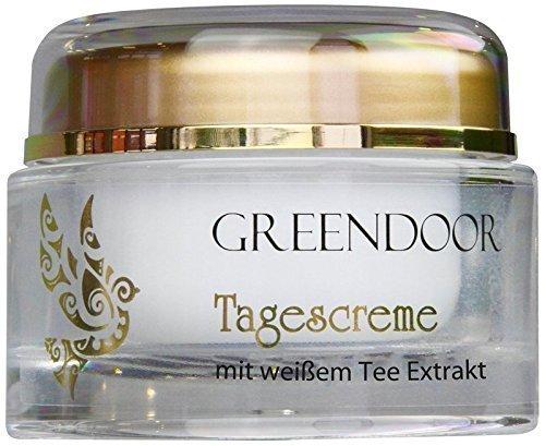 Greendoor Tagescreme mit weißem Tee, 50ml, schützende straffende natürliche Tagespflege ohne Fettglanz, Naturkosmetik Manufakturqualität, Gesichtscreme, Creme Gesicht