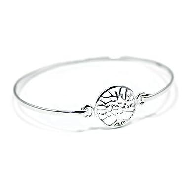Silverly Women's .925 Sterling Silver Tree Of Life Shield Pressure Hook Bangle Bracelet pPztPy