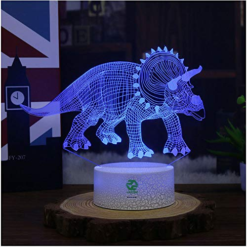 Dinosaur Illusion Night Light for Kids Birthday Gifts Optical Desk Lamp Table Touch Nursery Triceratops Walking Animals Party Western Children Room Decor 7 color Changing USB Crackle New Year Noew You by LKOTDF