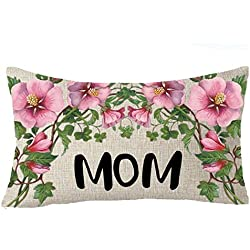 FELENIW Nordic flowers gift to mom i love you Happy Mothers' Day Throw Pillow Cover Cushion Case Cotton Linen Material Decorative 12X20 Inches