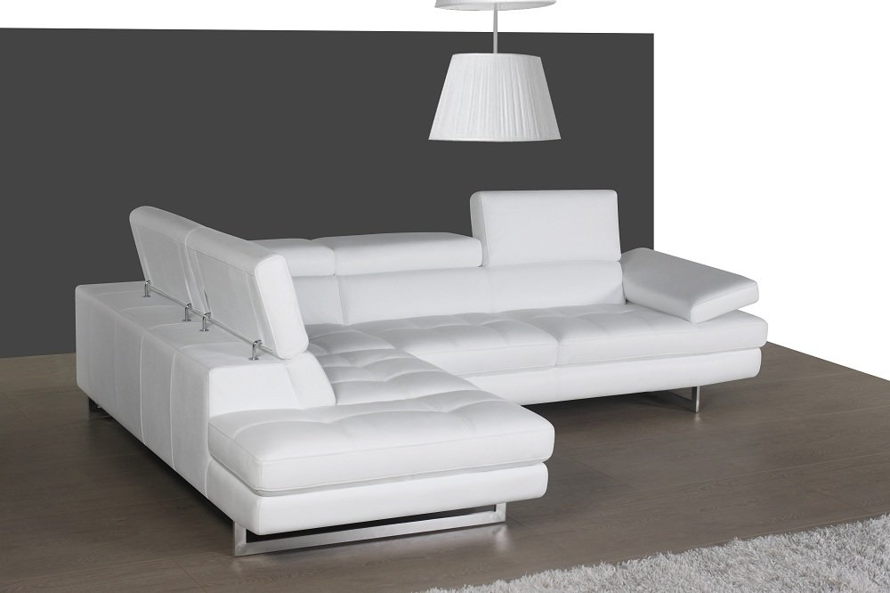 Exceptional Amazon.com: Ju0026M Furniture 178551 LHFC A761 Italian Leather Sectional White  In Left Hand Facing: Kitchen U0026 Dining
