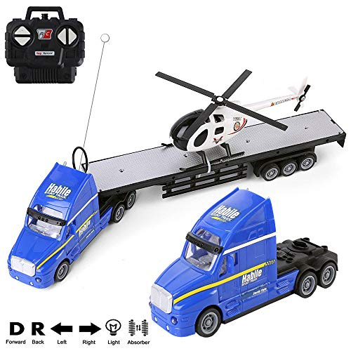 (RC Truck Car 1 20 Battery Powered RC Military Transport Carrier Truck Toy with Helicopters, Big Rig Semi Long Hauler Trailer Truck with Lights and Sounds, Ideal for Boys and Girls)