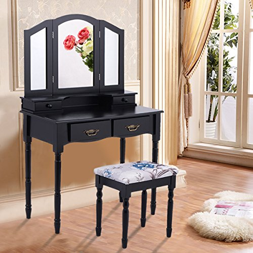 Giantex Tri Folding Mirror Vanity Makeup Table Stool Set Home Furni W/4 Drawers (Black)