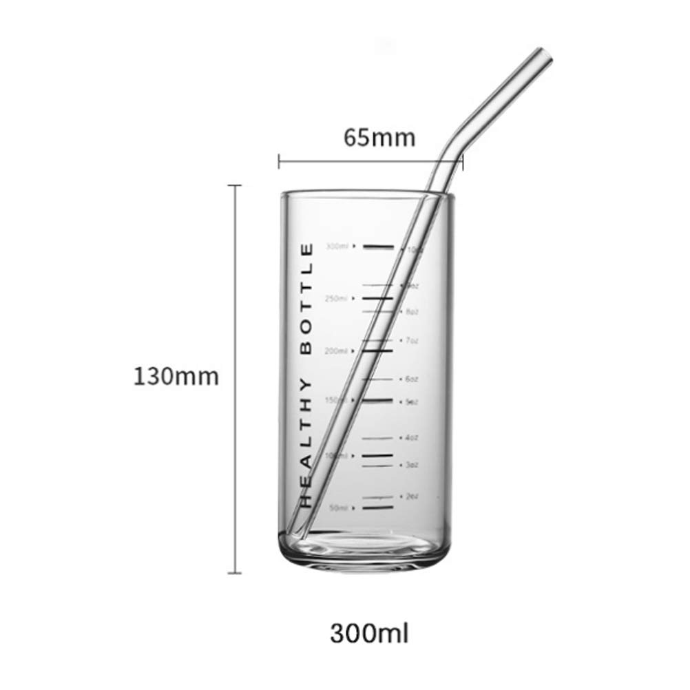 UPKOCH Thicken Glass Cup with Scales Blowproof Hard Glass Juice Cup Large Capacity Milk Cup Measuring Cup Without Straw Black