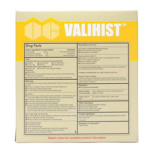 Valihist Antihistime-Decongestant Tablets (150 Pieces) - 2 Tablets In Travel Size Individually Sealed Packet. Antihistamine-Decongestant For Allergies, Colds, Runny Nose. Pain Reliever/Fever Reducer.