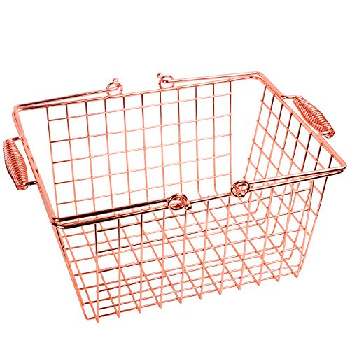 Kufox Multifunctional Wire Storage Basket, Glossy Metal Basket with Spring Handles, Decorative Food Storage Organizer Bin for Kitchen, Bathroom and Pantry, Rose Gold