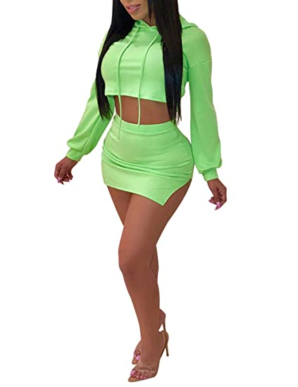 95cfff1061 Amazon.com: Angsuttc Women 2 Piece Outfits Long Sleeve Crop Top Hoodie and  Bodycon Split Mini Skirt Set: Clothing