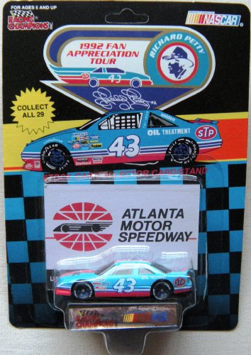 1992 NASCAR Racing Champions - Richard Petty #43 Pontiac 1/64 Diecast - Atlanta Motor Speedway - Includes Collector's Card & Display Stand