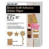 Milcoast Brown Kraft Full Sheet 8.5'' x 11'' Adhesive Sticker Paper - 100 Sheets