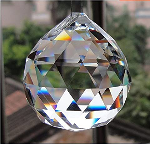 40mm Clear Crystal Ball Prisms Pendant Feng Shui Suncatcher Decorating Hanging Faceted Prism Balls (Crystal Prism Pendant)