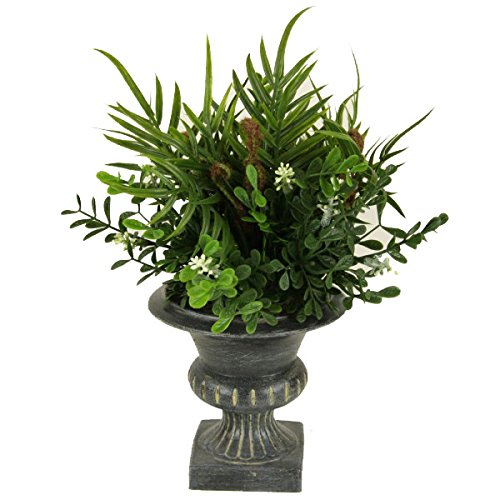 10'' Faux Plastic Mixed Fern Bush in Plastic Urn