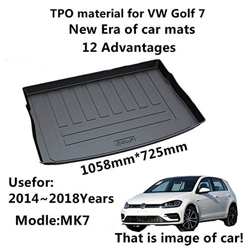 (AUNAZZ/Car Mat For Volkswagen Golf 7 MK7 2014-2018 Years Rubber Rear Trunk Cargo Liner Trunk Tray Floor Mat Cover 1 PCS)