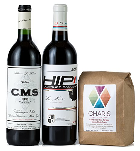 Hedges Family Estate Washington Reds and Coffee Gift Set with 16oz Single Origin Charis Coffee, 2 X 750 mL