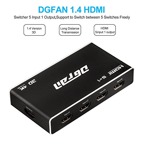 HDMI Switch, Premium 5 Port HDMI Switch Box-High Speed HDMI switcher with IR Wireless Remote and AC Power Adapter-HDMI hub for TV, Projector Camcorders, Laptop, Monitor -Supports HD 4K 1080P 3D by DGFAN (Image #1)