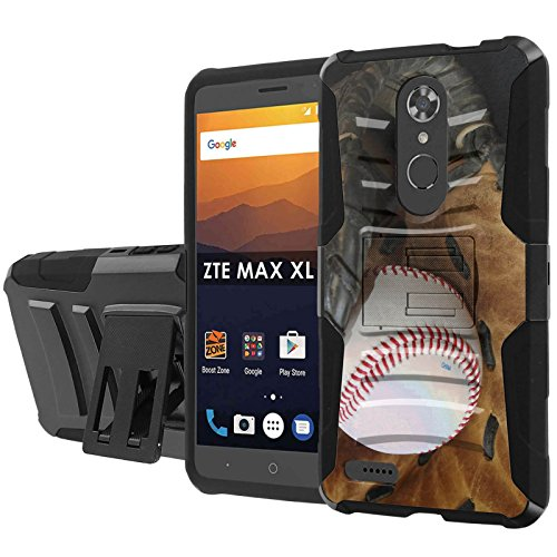 [Nakedshield] Phone Case For ZTE [Max XL] [Blade Max 3 Z986] [Max Blue] [Black/Black] Defender Combat Armor Case [KickStand] [Holster] - [Ball and Glove] Print - Blade Gloves Defender
