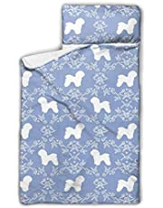 Bichon Frise Floral Silhouette Dog Pattern Kids Toddler Nap Mat with Pillow - Includes Pillow & Fleece Blanket for Boys and Girls Napping at Daycare, Preschool, Or Kindergarten