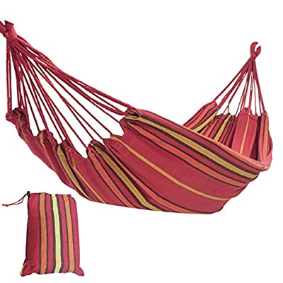 Prime Garden Backyard Patio Hammock Polyester + Carrying Case Red Striped - Comes with a handy carry bag, which stores your hammock away easily when you aren't using it Included support ropes help you when attaching your hammock Holds up to 450 lbs - patio-furniture, patio, hammocks - 51W3u8reIJL. SS400  -
