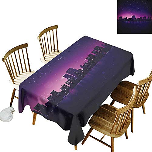 Night Rectangular tablecloths in a variety of colors and sizes Can be used for parties City Skyline Silhouette Skyscrapers Abstract Graphic Architecture Urban Life W60 x L84 Inch Indigo Light Pink ()
