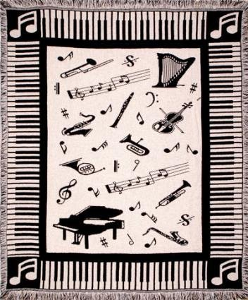 Music Notes Piano & Instruments Afghan Throw Blanket 50